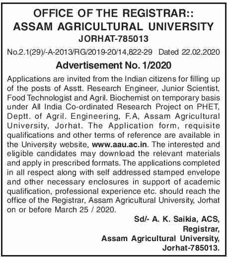 AAU Jorhat Recruitment 2020