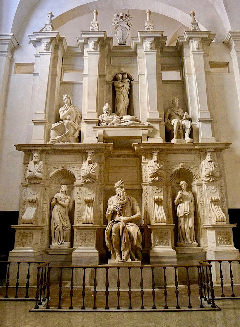 Michelangelo Julius II Tomb. Statues of Rachel, Leah, and Moses