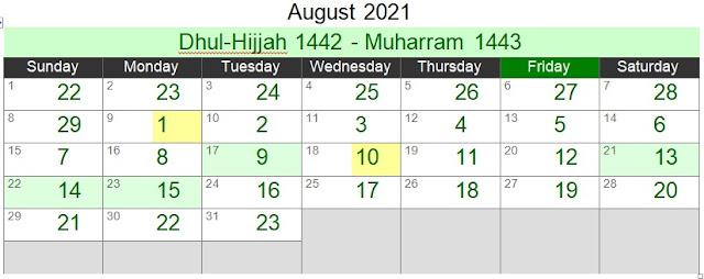 Islamic Hijri Calendar August 2021 (Dhul-Hijjah 1442 - Muharram 1443)
