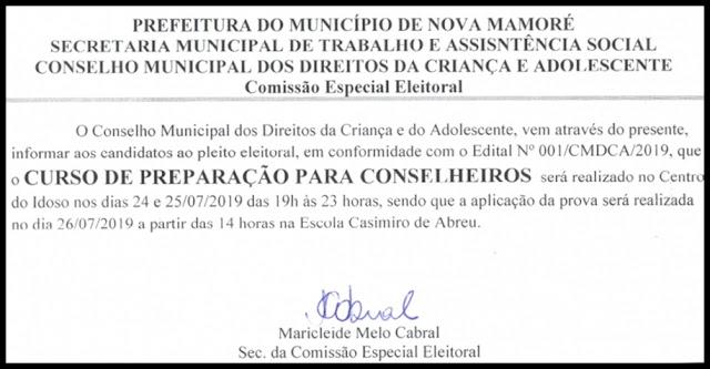CURSO DE CAPACITAÇÃO DE CONSELHEIROS, EM NOVA MAMORÉ