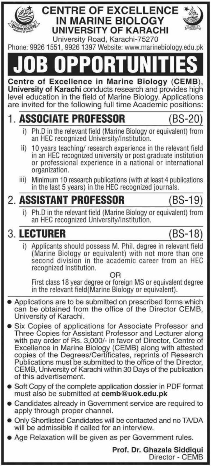 University of Karachi Jobs 2019 Sindh for Lecturer