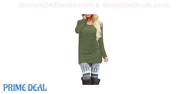 35% OFF Womens Basic Long Sleeve Slim Fit Tunics
