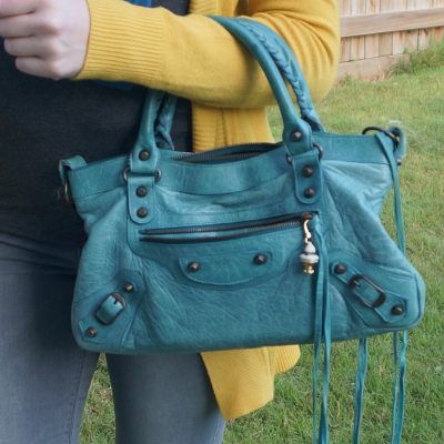 mustard cardigan with turquoise Balenciaga first bag in 2006 Blue India | away from the blue