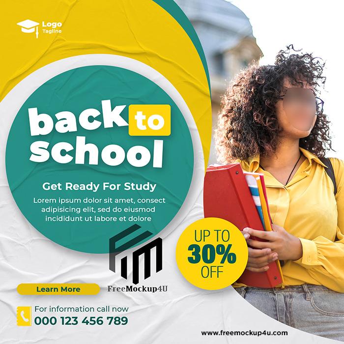 Back To School Admission Social Media Post Banner Or Instagram Post Template Design