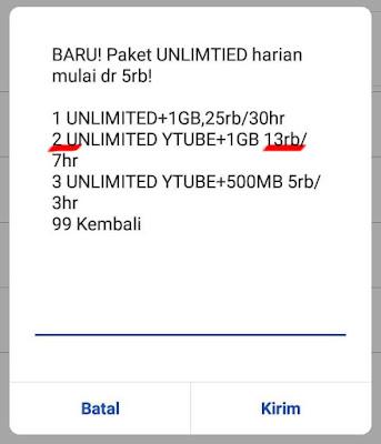 Unlimited Youutube Indosat 1GB 13 ribu/7 hari