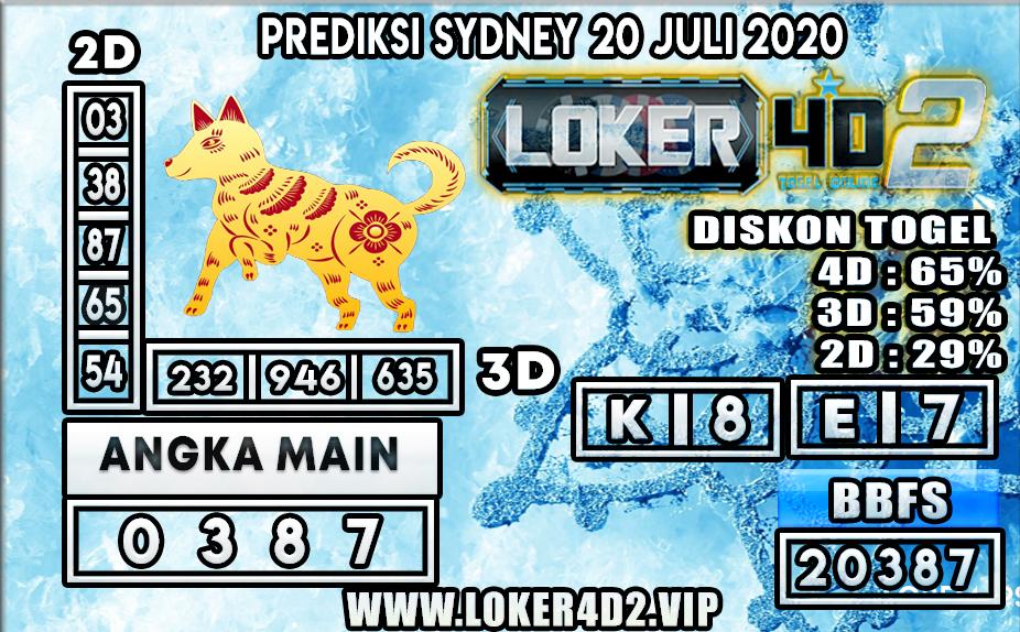 PREDIKSI TOGEL LOKER4D2 SYDNEY 20 JULI 2020