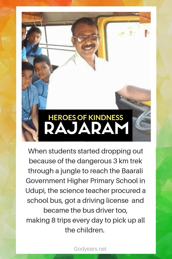 Heroes of Kindness - When students could not reach the school, the science teacher Rajaram bought a bus and became their bus driver too