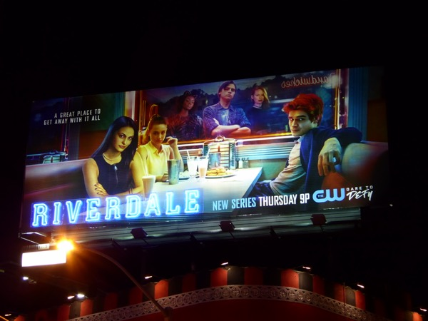 Riverdale series premiere Neon sign billboard night