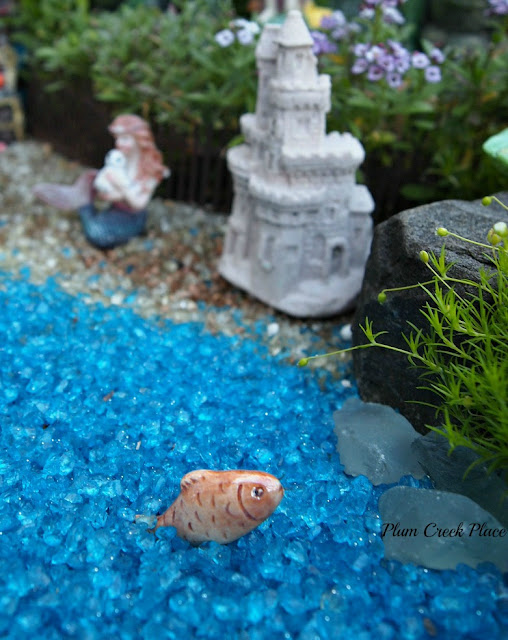 Mermaid fairy garden, cantainer fairy garden,