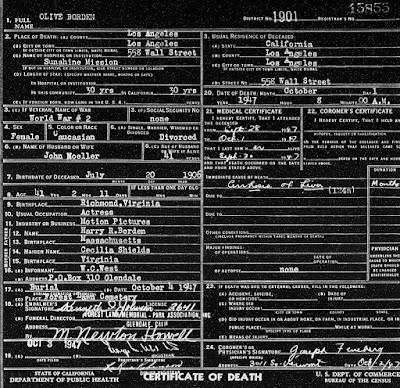 Olive Borden Death Certificate