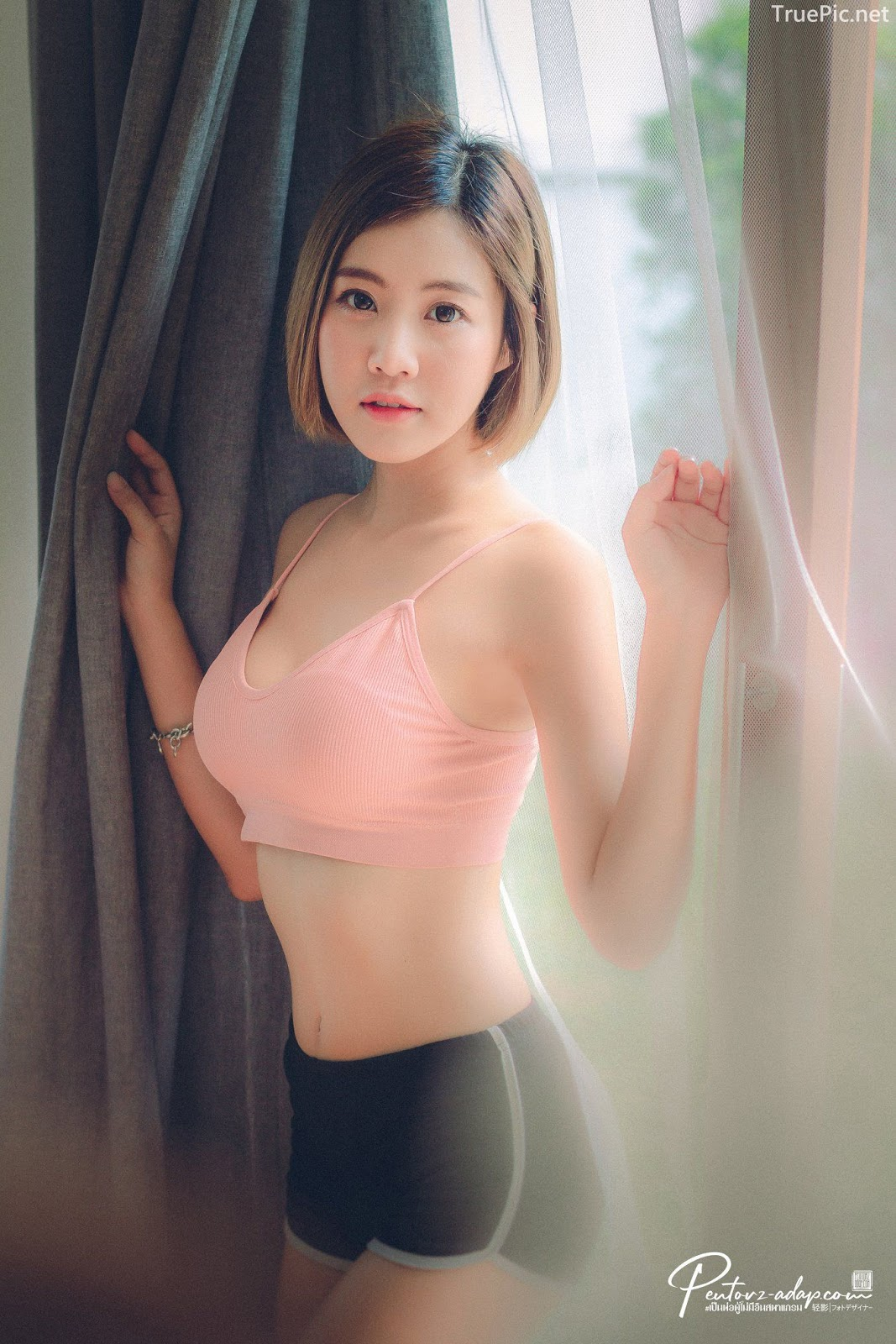 Thailand Cute Model - Fah Chatchaya Suthisuwan - Pink Lovely Fitness Sports Bra - TruePic.net - Picture 5