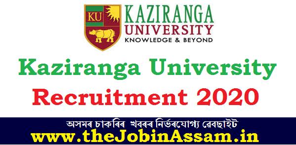 Kaziranga University Recruitment 2020