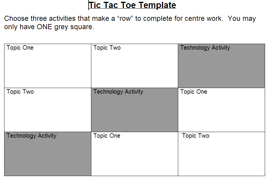 Div1 edtech in epsb technology as a part of a tic tac toe menu basically a tic tac toe choice board is a variation of centres and it is a great way to differentiate learning you can use it in pretty much any subject pronofoot35fo Gallery