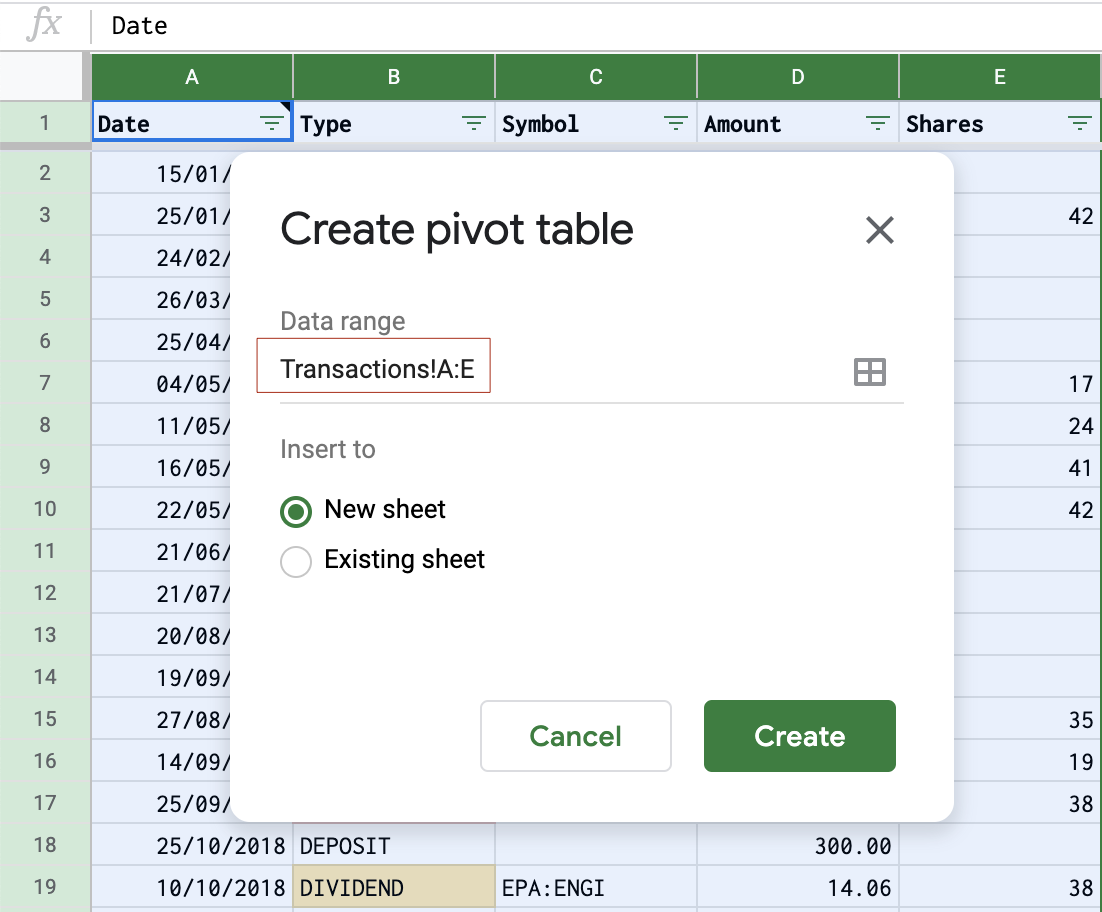 Create a pivot table from 5 columns of the Transactions sheet