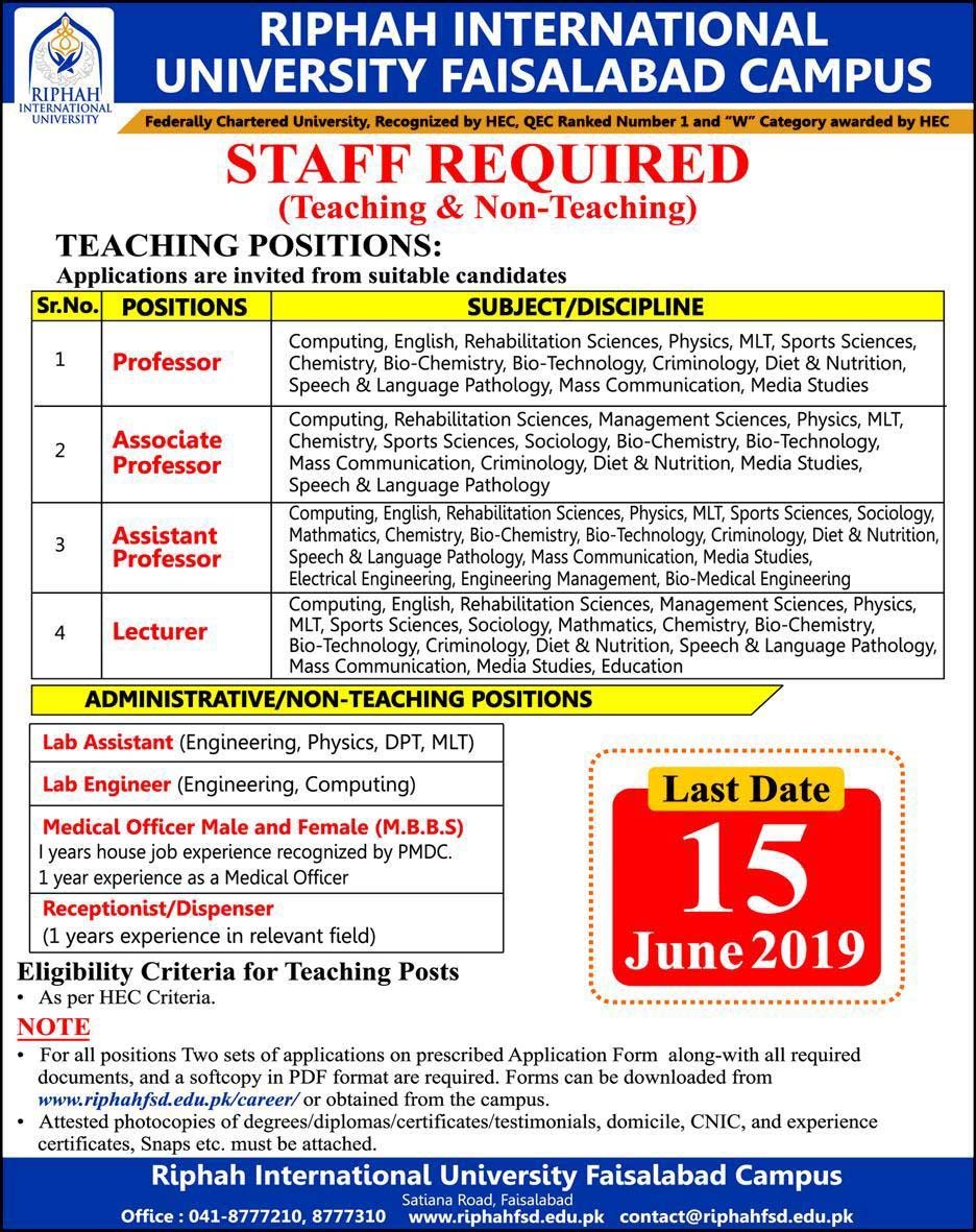 Jobs in Riphah International University