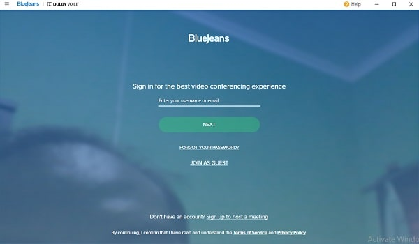membuat akun aplikasi Bluejeans