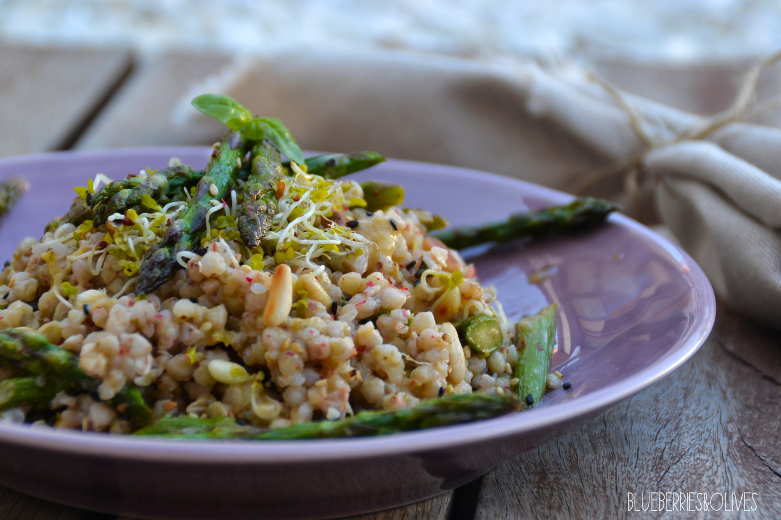 BUCKWHEAT AND ASPARAGUS SALAD WITH TAHINI DRESSING