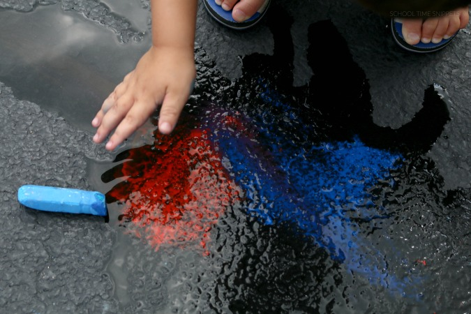 wet chalk color mixing on driveway