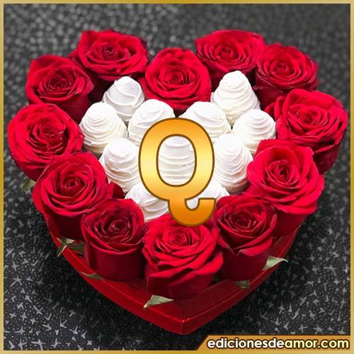 corazón de rosas rojas Q