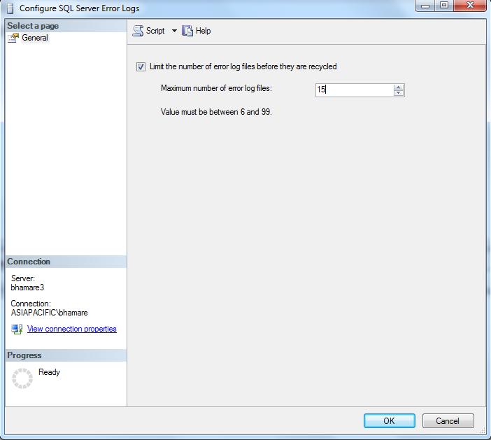 Error Log: SQL Server DBA: Increase The Number Of SQL Server Error Logs