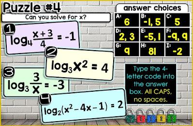 Solving Logarithm Equations Digital Math Escape Room