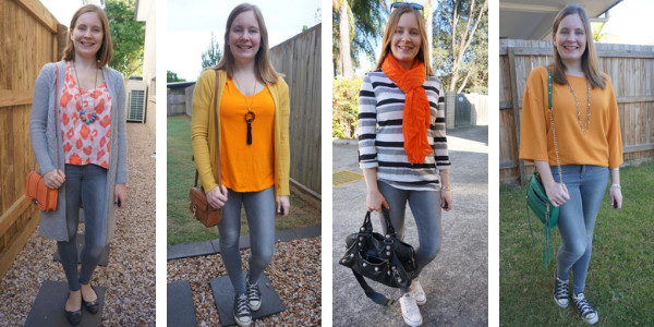 ways to wear orange with gray skinny jeans outfits | away from the blue blog