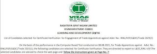 Vizag Steel Trade Apprentice Result 2021