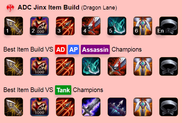 Jinx's Best Build in LoL Wild Rift game
