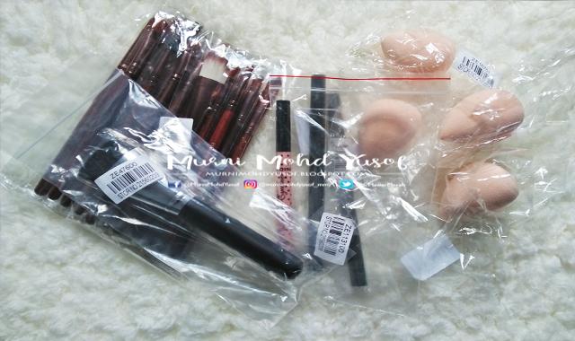 berus mekap murah, eyeliner, eyebrow pencils, beauty blender