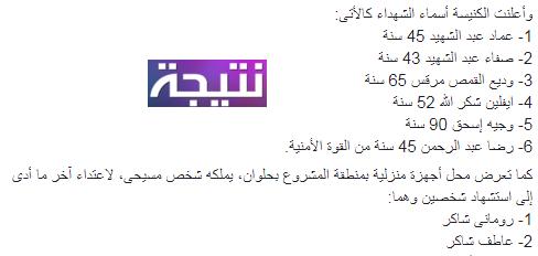 أسماء شهداء كنيسة مارمينا فى حلوان 29-12-2017