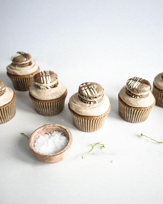Café au Lait Macaron Cupcakes . Butter and Brioche .