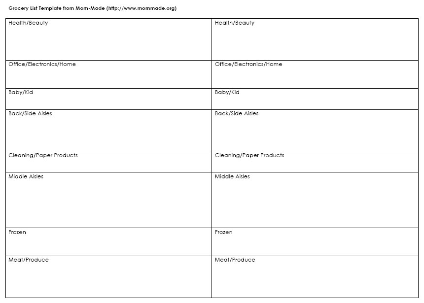 grocery list template word - grocery list word