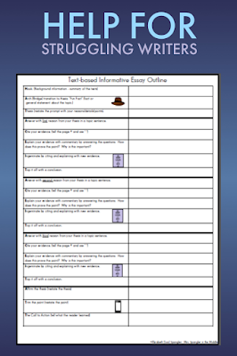Give your middle school students a writing frame to help them learn how to organize their essays.