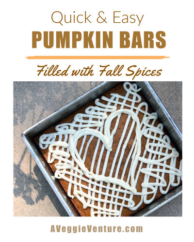 Pumpkin Bars ♥ AVeggieVenture.com, quick & easy, filled with fall spices.