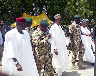 Pic.11.President Muhammadu Buhari at the 57th Independence Celebrations Day in Maiduguri - 9JA NEWS: #NigeriaAt57.... President Buhari is spending Independence Day with Troops in Borno(Photos)