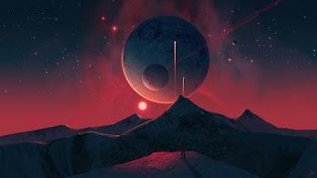 Night, Sky, Planet, Landscape, Scenery, Sci-Fi, Digital Art, 4K, #6.2649
