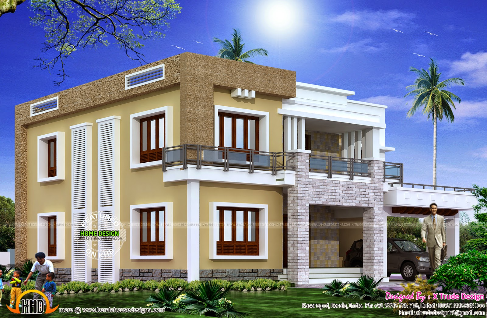 Different views of 2800 sq-ft modern home - Kerala home design and