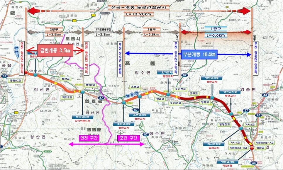 국도37호선 파주-가평 73km 6월 30일 전 구간 개통