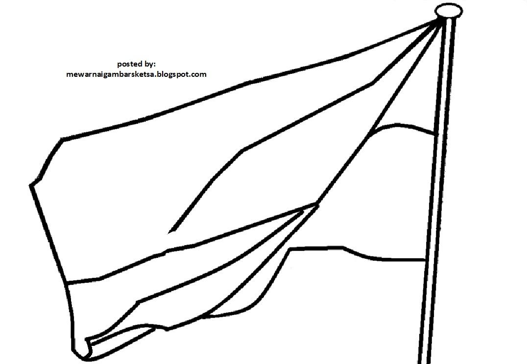 Mewarnai Gambar Sketsa Bendera Merah Putih 4