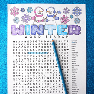 Winter Coloring Word Search