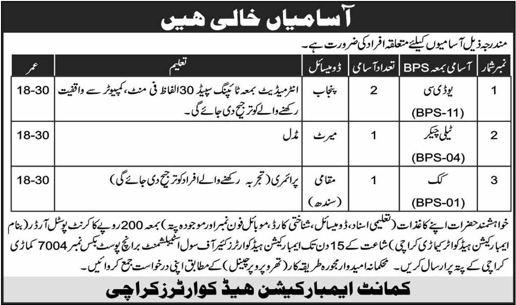 UDC, Tally Checker, Cook Jobs under Pak Army in Sindh and Punjab