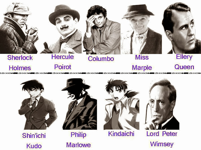 Famous Fiction Detective, Legendary Detectives, sherlock holmes, hercule poirot, columbo, miss marple, ellery queen, shinichi kudo, philip marlowe, kindaichi, lord peter wimsey