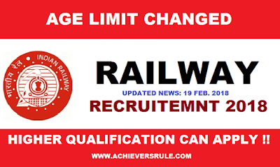 Railway Extended Upper Age limit & Qualification for ALP and Group D Exams 2018