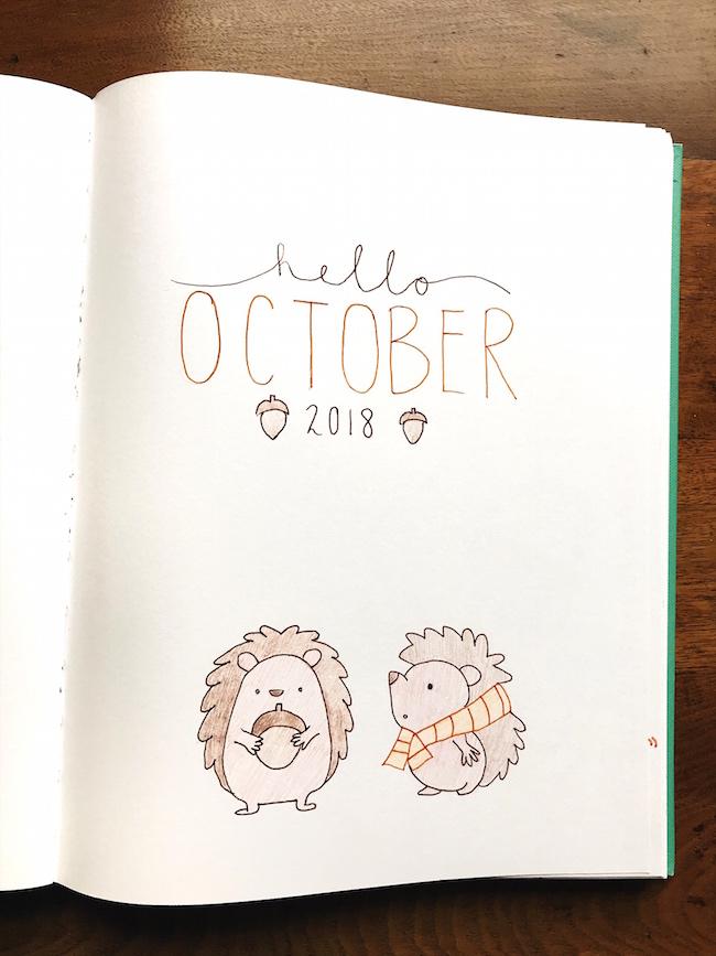 October 2018 Bullet Journal Spread