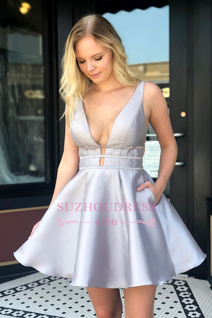 A-line V-neck Backless Sexy Short Homecoming Dresses