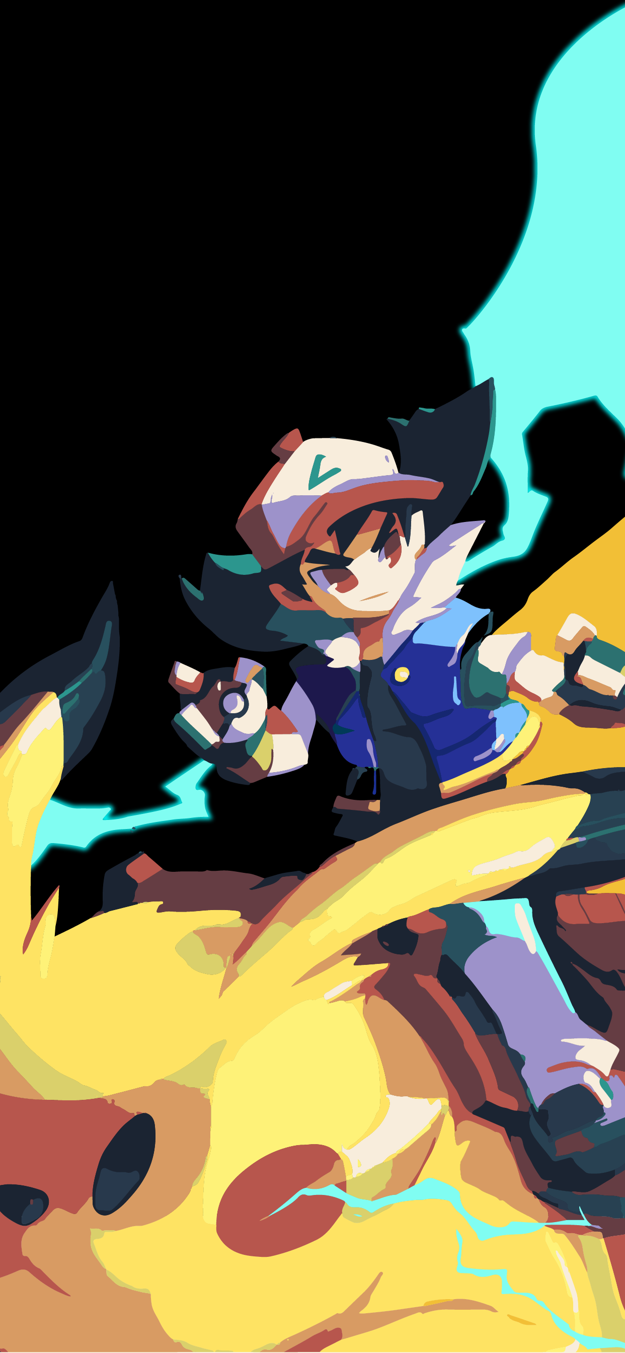 Ash and pikachu art wallpaper background for phone hd
