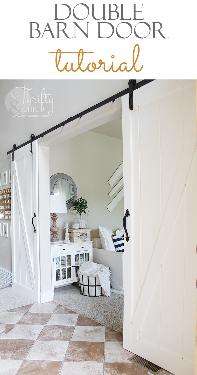 Diy Double Barn Door Thrifty And Chic Bloglovin