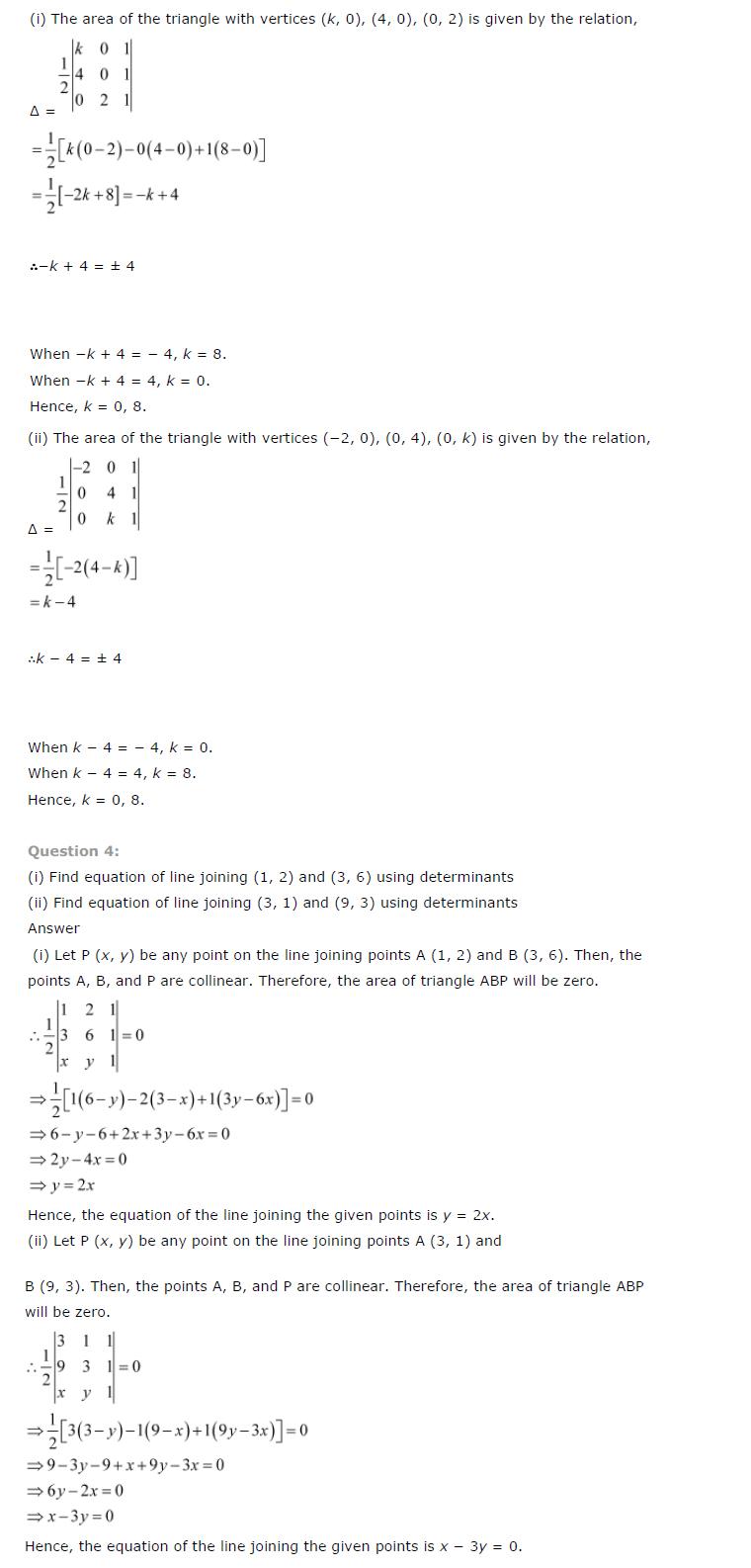 Class 12th Maths Chapter 4 Determinants