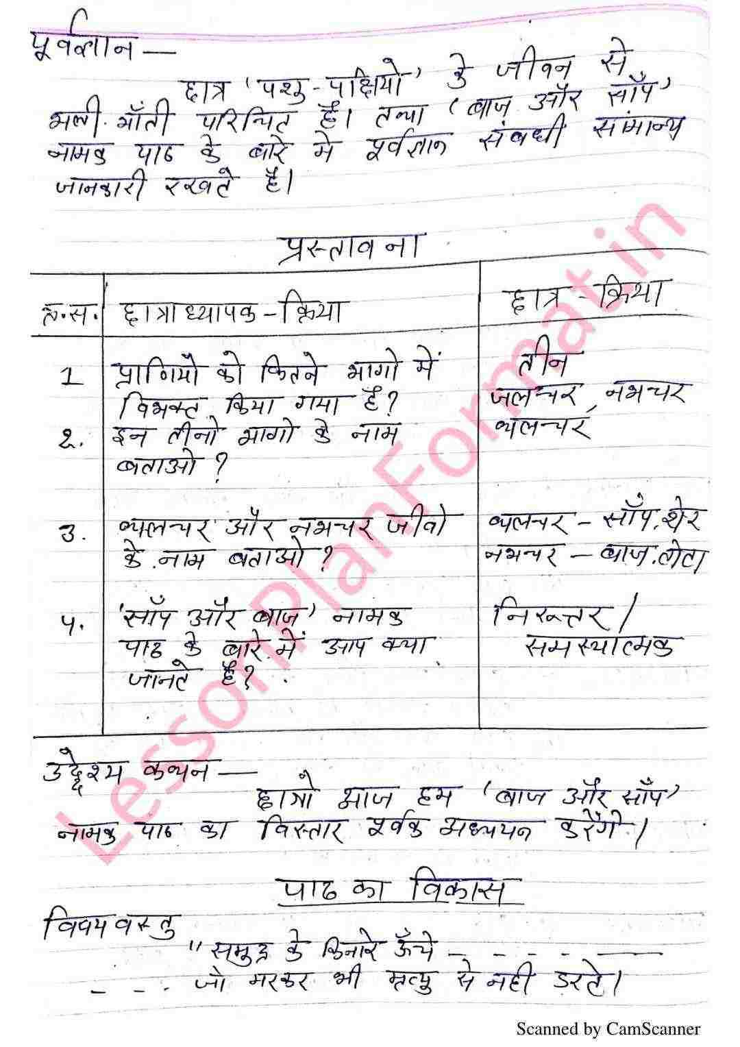Hindi Class 8 Lesson Plan | हिंदी पाठ योजना कक्षा 8