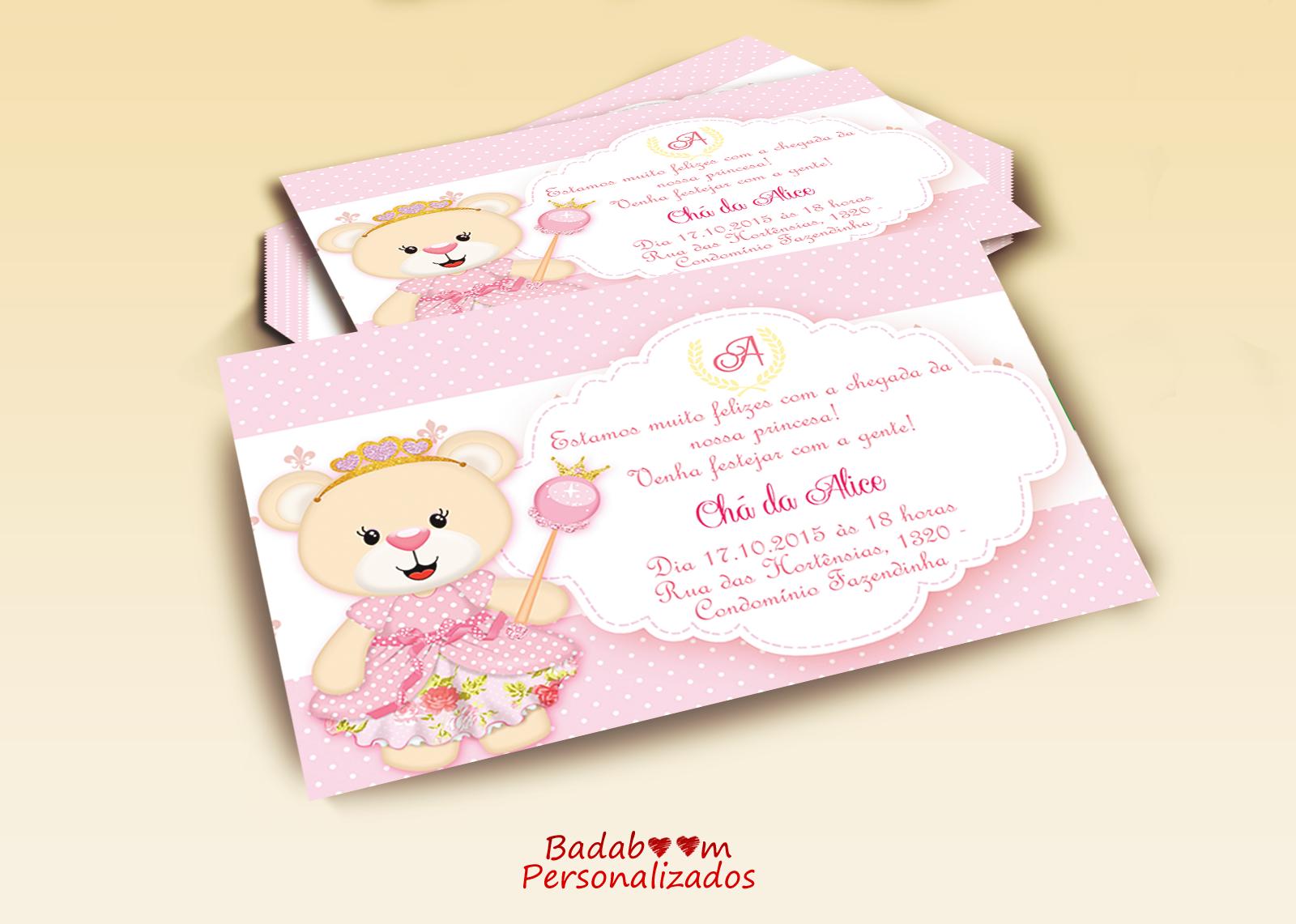 Badaboom Personalizados Convite Chá De Bebê Ursa Rosa